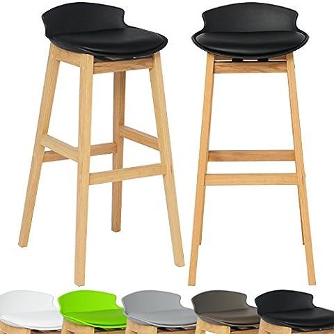 WOLTU Lot de 2 Tabouret de bar en similicuir avec bien rembourrés haut tabouret en bois pied,Nouveau design BH56sz-2-c,Noir