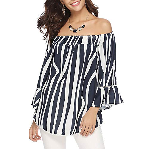 Aibrou Donne Camicia off The Shoulder, Manicotto 3/4 Camicette Casual Top T-Shirt Dress Tunic Swing Style (Marine Stripes, M)