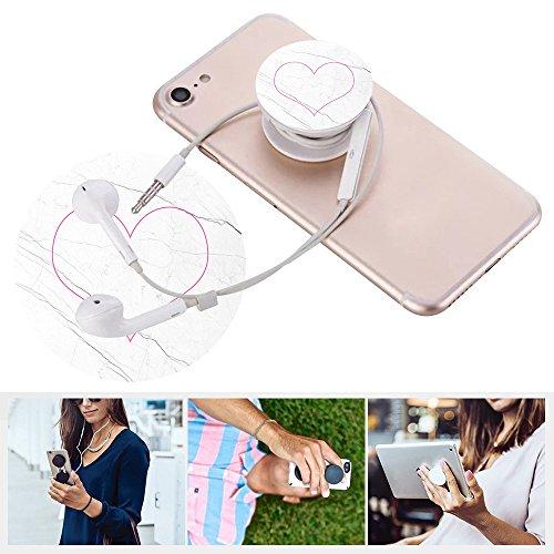 Erweiterbare Basis und Griff für Smartphones und Tablets- Weiß schwarz Marmor pink Rosa Liebe herz