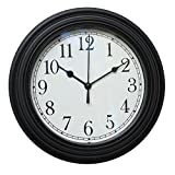 Foxtop 9 Pouces Silencieux Non Horloge Pendule Murale pour le Salon Chambre Bureau de Cuisine, Petites Horloges Murales Avec Couvercle en Verre