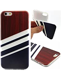 Uming® Motif imprimé coloré de cas de TPU souple [ pour IPhone 6 6G IPhone6 ] Colorful Pattern Print Coque de protection Coque de téléphone portable Case Cover - Oblique white stripes