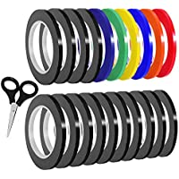 SIQUK 20 Pack Graphic Art Tape 3mm Chart Cinta de cinta Cinta de marcar PET Whiteboard Tape Cinta de decoración autoadhesiva Artist Tape with a Scissor