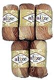 Alize Bella 5 x 50 Gramm Baumwolle Mehrfarbig mit Farbverlauf, 250 Gramm Wolle aus 100% Baumwolle, Strickwolle (braun beige 1815)