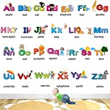 StickMe Alphabets for Kids Learning Education Nursery Pre School Kinder Garden Wall Sticker (PVC Vinyl, 120 X 80 cm, Multicolour)