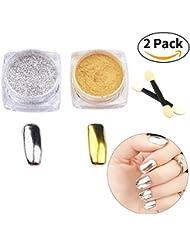 2 Farben Nagel Glitzerpuder Nail Glitter Powder Shinning Nail Mirror Powder Nail Art Glitter Staub Nagel Pigment Nageldesign Nail Art Spiegel Glitzer Puder Set Molie