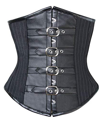 Women S Korsagen Gothic Pinstripe Faux Leather Steel Boned Corset Fashionable with Buckles Body Shaper Vollbrust Mieder Fashion Vintage Steampunk Bustier Shapewear -