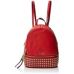 Michael Kors Rhea Zip, Bolso mochila para Mujer, Rojo (Bright Red) 25.4x29.8x11.4 cm (W x H x L)