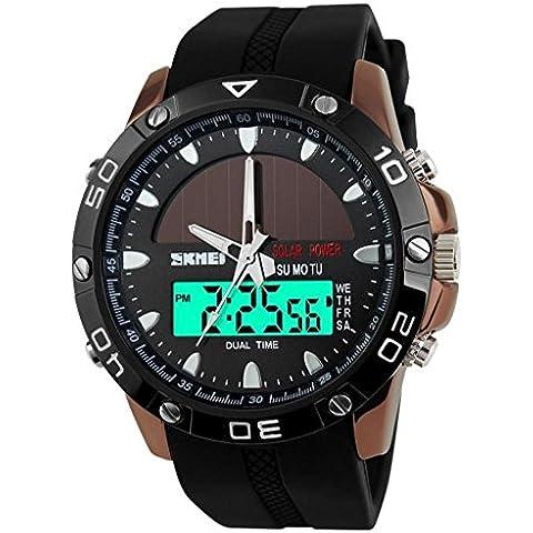 lionm regla de alimentación solar de los hombres militares dual zonas horarias correa de silicona negro reloj de pulsera deportivo