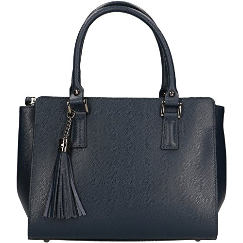 CTM Sac à main femme en motif Saffiano avec bandoulière, cuir made in Italy - 27x19x14.5 Cm Bleu