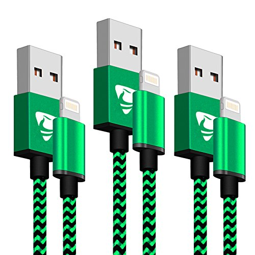 iPhone Charger Aioneus Lightning Cable 2m 3pack Nylon Braided iPhone Cable for iPhone8/iPhone7/iPhone 6/6 Plus/6s, iPad Air 2, iPad Pro and More-Green¡