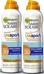 Garnier Ambre Solaire UV Sport Brume Sèche Protectrice Multi-résistante FPS 30 200 ml - Lot de 2