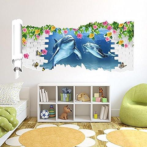 LLYY-Creativo 3D stereo muro sfondo murale carta da parati camera da letto soggiorno divano igienici prospettiva Dolphin HD adesivi parete adesivi pigmento verde rotto scorrimento parete sticker murali 580 mm * 1200mm #005