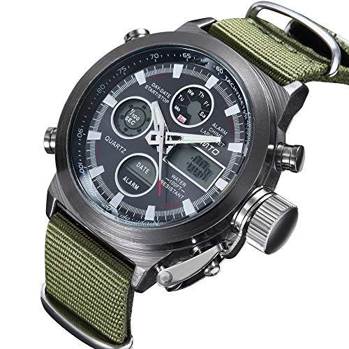 Relojes Relojes De Cuarzo Montañesa Relojes Deportivos Doble Movimiento Impermeable Calendario Relojes De Caballero Verde