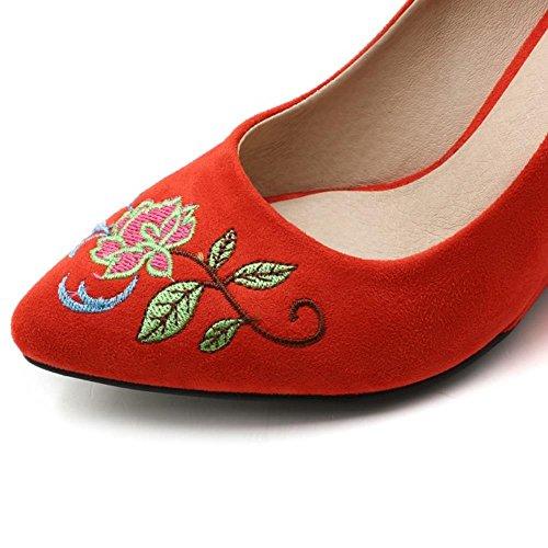 COOLCEPT Damen Klassische Chinese Embroidery Schuhe Fashion Keilabsatz Ladies Hochzeit Pumps 783 Orange-Red