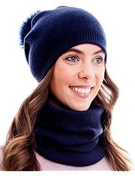 100% Baumwolle Winter Kombi Set aus Schal, passender Strickmütze und Beanie mit Pompon (kein Echtfell)