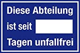 Aushang am Arbeitsplatz - Abteilung unfallfrei - Aluminium Selbstklebend - 20 x 30 cm