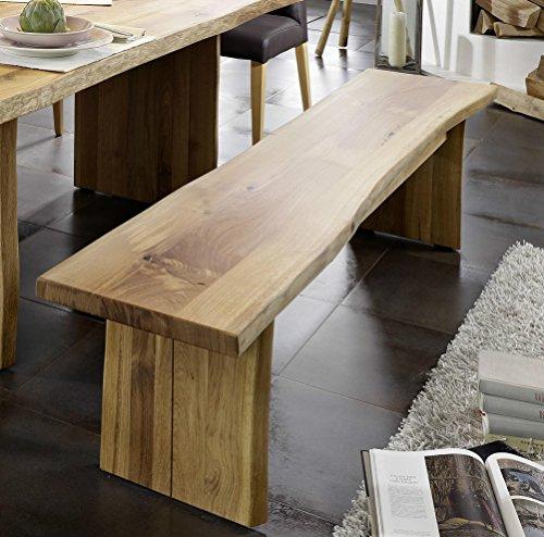Main Möbel Bank Holz massiv Eiche mit Baumkante 200cm Amber
