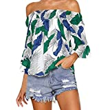 KaloryWee Women's Off Shoulder Tropical Leaves Print 3/4 Sleeve Tops Strapless Blouse T Shirt