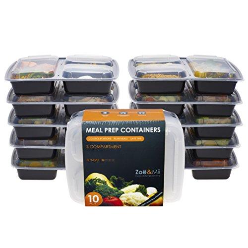[10er Pack] 3-Fach Meal Prep Container Set Mikrowellenfest Lock Dosen,Frischhaltedosen, Essen box Sets BPA-Frei. Gratis E-book von Zoe&Mii