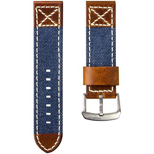 ZULUDIVER® Kanevas & Italienisches Leder Uhrenarmband, Blau & Vintage Braun 24mm