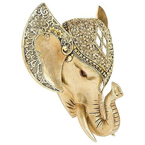 Golden Pearl Effect Elephant Head Wall Art hängende Tier Trophy 20cm x 17cm