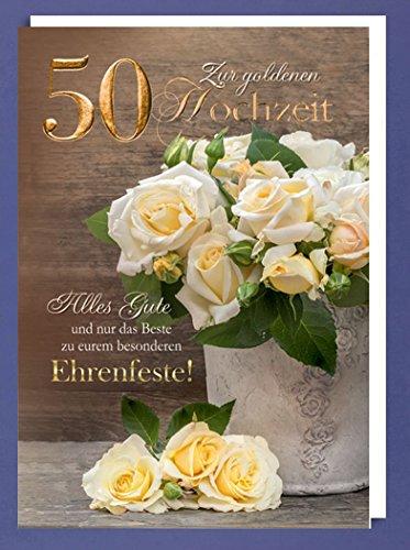 Riesen 50 Goldhochzeit Karte Grußkarte Goldene Hochzeit Goldfoliendruck Rosen A4