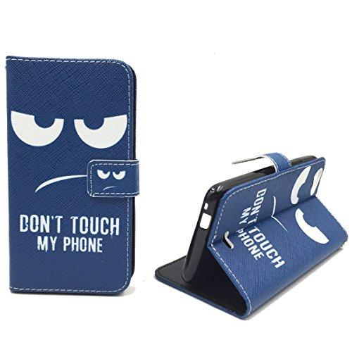 König-Shop Handy-Hülle Schutz-Tasche Wiko Rainbow Jam Smartphone Klapphülle Don't touch my Phone Design Weiß Dunkelblau
