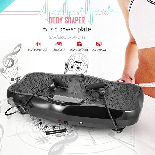 FORIN Trainingsgerät 2018 Vibrationsplatte mit Musik 3D Fitness Vibrationstrainer, Rutschfest große Fläche, LCD Display,0-99 Intensitätsstufen,Trainingsbänder +Fernbedienung,belastbarkeit bis 150 kg (Schwarz 1, Typ A(99 Levels) mit Musik)
