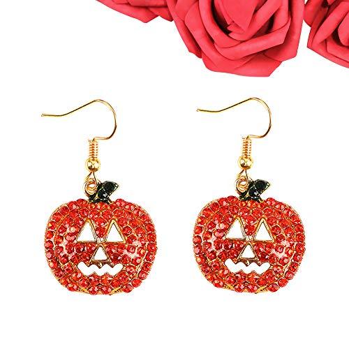 MLJ 2 Paare Art Und Weise Kürbis Strass Ohrring Kürbis Form Rhinestone Baumeln Haken Ohrringe für Halloween (Paare Halloween-kostüme Einzigartig)