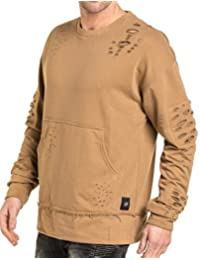 Sixth June - Sweat homme beige oversize destroy coupe large
