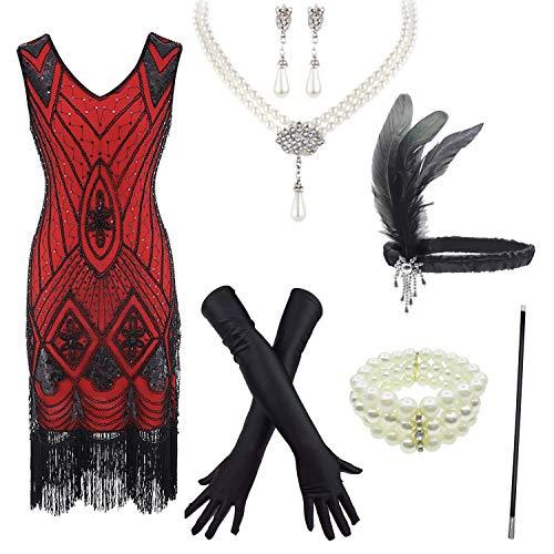 8IGHTEEN COSTUME 1920er Jahre Vintage Pailletten verziert Fransen Gatsby Flapper Kleid w/Zubehör Set (S, Red)