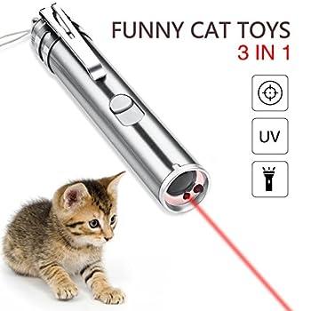 YAMI Pointeur pour chat jouets interactifs pour chat 3 dans 1 jouets drôles de chat de fonction multi avec USB rechargeables