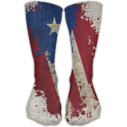 Xdevrbk Vintage Puerto Rico Flag Outdoor Running Long Socks Novelty High Athletic Sock Unisex