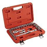 Jetech 24-tlg. Steckschlüsselsatz mit 1/2'-Antrieb, Zoll-Steckschlüsseleinsätze, Mechaniker-Steckschlüsselsatz mit ausgewähltem Zubehör, im praktischen Koffer