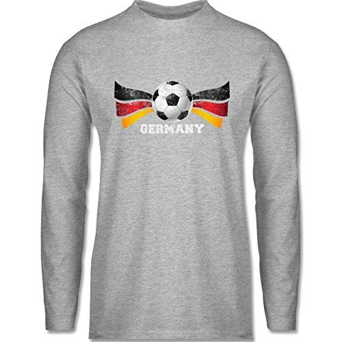 Shirtracer Fußball-WM 2018 - Russland - Germany Fußball Vintage - Herren Langarmshirt Grau Meliert