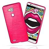 moex Huawei Mate 7 | Hülle Silikon Pink Brushed Back-Cover TPU Schutzhülle Ultra-Slim Handyhülle für Huawei Ascend Mate 7 Case Dünn Silikonhülle Rückseite Tasche