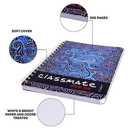 Classmate Pulse 6 Subject Notebook - Unruled, 300 Pages, Spiral Binding, 240mm*180mm Image 6