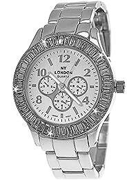 Designer Strass Damenuhr Damen Armband Uhr im Chronograph Stil Silber inkl.Uhrenbox