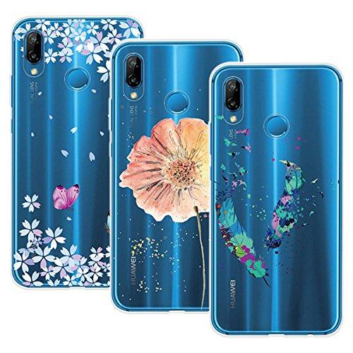 Yokata 3 Packs Huawei P20 Lite Hülle Transparent Handytasche TPU Silicone Bumper Ultra Dünn Slim Durchsichtig Premium Kratzfest Motiv Handyhülle -Feder Blumen und Schmetterlinge Blumen