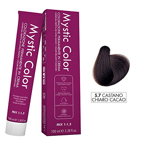 Mystic Color - Castano Chiaro Cacao 5.7 - Colorazione Professionale Permanente in Crema con Olio di Argan e Calendula - Tinta per Capelli Long Lasting - 100ml