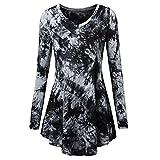 KEERADS Damen Bluse Elegant Langarm/Kurzarm T Shirt V-Ausschnitt/Rundkragen Oversize Vintage Tops Shirt Tunika (36(Etikettengröße S),V-Schwarz)