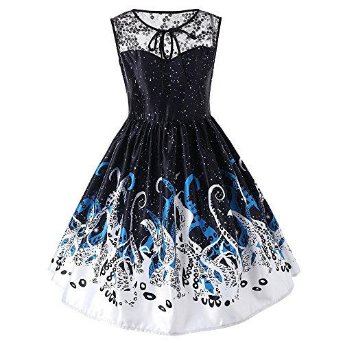 Lucky Mall Frauen Spitze Schmetterling gedruckt Kilt, Damen ärmelloses Partykleid Unregelmäßigen Saum Swing Kleid S-5XL