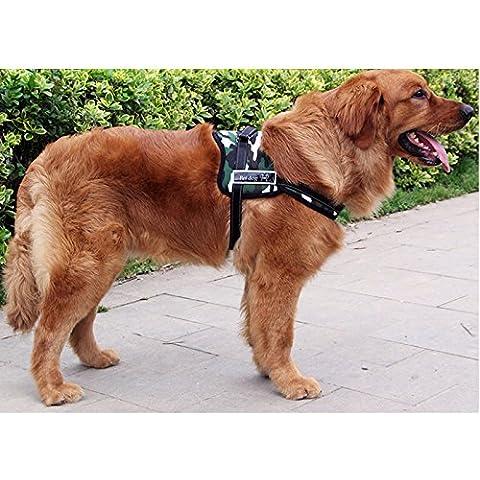 Ltuotu 2 tamaño del color 5 pectoral pesado perro Duty, ajustable para el pecho y el vientre de la correa de ajuste en su perro de servicio o de trabajo admiten Entrenar Walking (Camuflaje blanco, S)