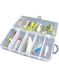 TOOGOO(R)16Pcs Kit de Leurre de Peche Artificiel Leurre/Appats Doux Dur Cuillere Manivelle Crevettes Gabarit Crochet avec Boite de Materiel de Peche