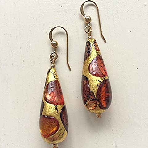 Diana Ingram shades of brown and gold leaf Murano glass