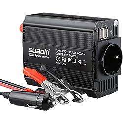 Suaoki 300W Power Inverter DC 12V AC 230V Scocca in Alluminio 2 Porte USB 5V/2,1A Caricatore per Auto e Pinza Inclusi, Nero