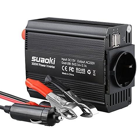 Suaoki 300W Convertisseur DC 12V AC 220V-240V, Ports USB Dual 5V / 2.1A Corps en Aluminium avec Attaches de Batterie de Voiture et Chargeur de Voiture pour Recharger les Appareils Electroniques et Petits Appareils Ménagers, Noir