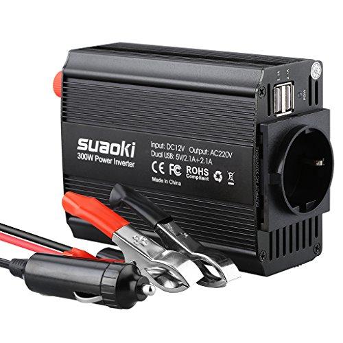 Suaoki - 300W Convertisseur DC 12V AC 220V-240V, Transformateur de Tension Dual USB Ports 5V/2.1A, Corps en Aluminium, Attaches de Batterie de Voiture et Chargeur de Voiture, Noir