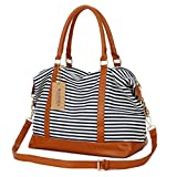 BAOSHA HB-28 Damen Canvas Streifenmuster Carry-on Reisetasche Frauen Weekender Segeltuch Reise...