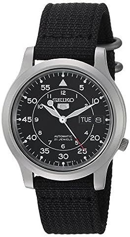 Seiko - SNK809K2 - 5 - Montre Homme - Automatique Analogique - Cadran Noir - Bracelet Tissu Noir